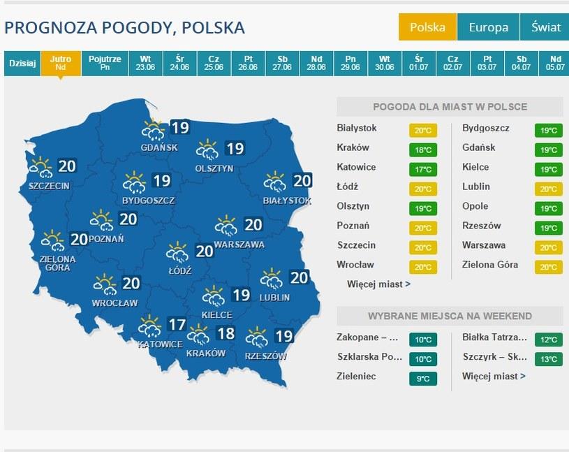 Pogoda na niedzielę (21.06) /INTERIA.PL