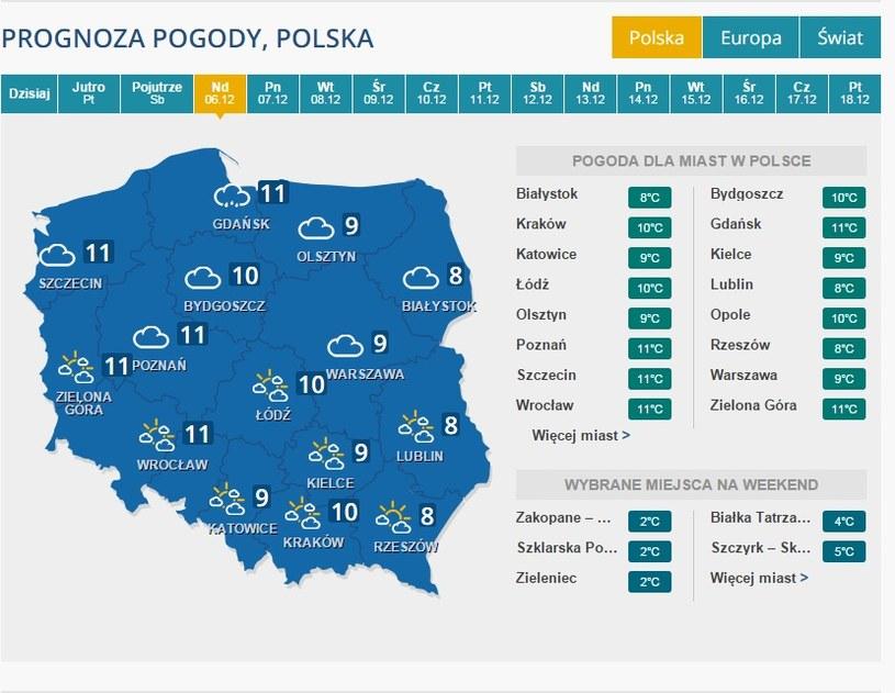 Pogoda na niedzielę /INTERIA.PL