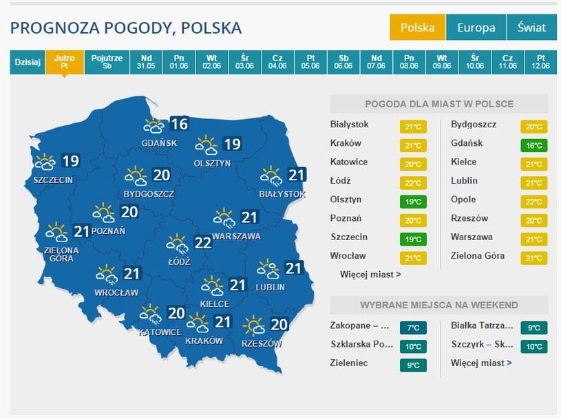 Pogoda na piątek /INTERIA.PL