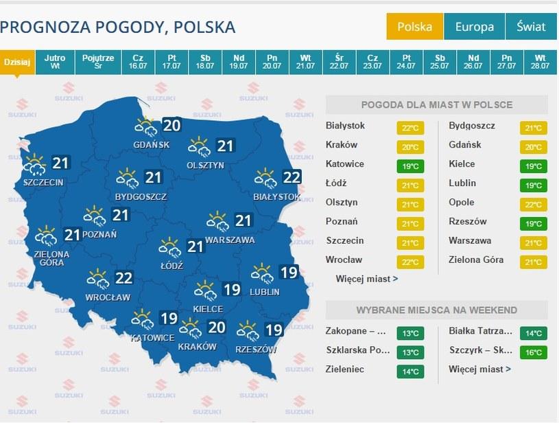 Pogoda na poniedziałek /INTERIA.PL
