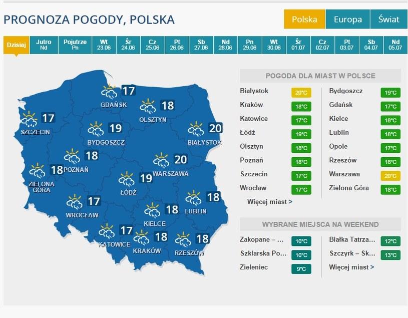 Pogoda na sobotę (20.06) /INTERIA.PL