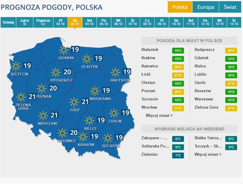 Pogoda na sobotę /INTERIA.PL