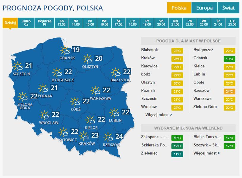Pogoda na środę /INTERIA.PL