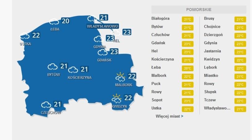 Pogoda nie będzie rozpieszczać mieszkańców województwa pomorskiego /INTERIA.PL