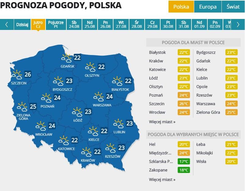 Pogoda w czwartek, 22 sierpnia /Interia.pl /INTERIA.PL