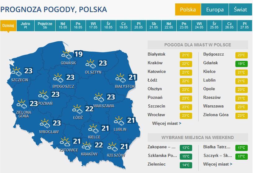 Pogoda w czwartek /INTERIA.PL