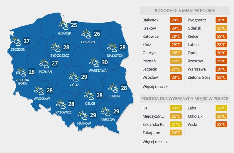 Pogoda w niedzielę, 21 lipca /Interia.pl /INTERIA.PL