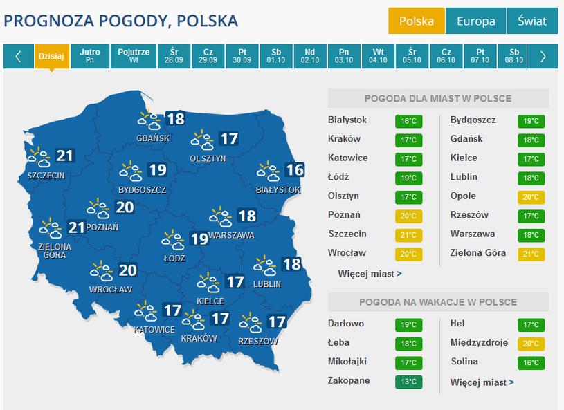 Pogoda w niedzielę /INTERIA.PL