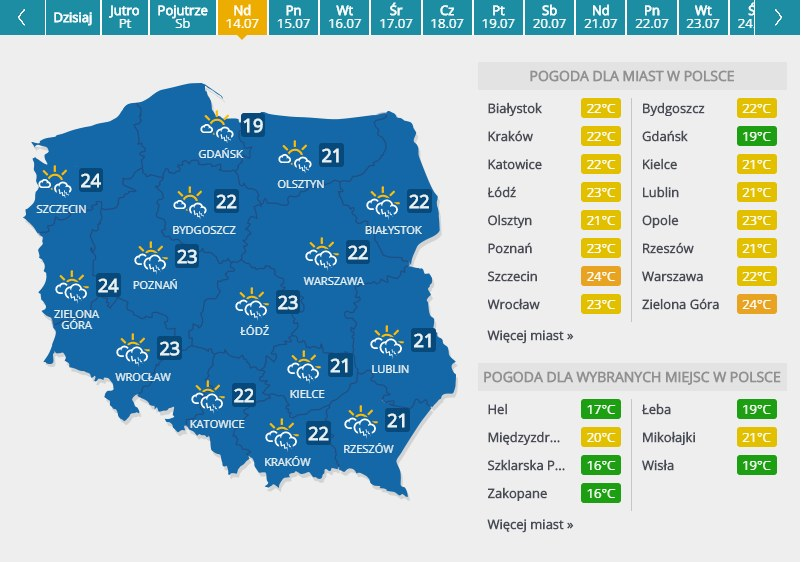 Pogoda w niedziele /INTERIA.PL
