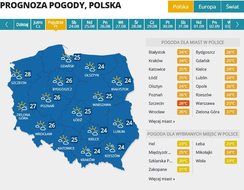 Pogoda w piątek, 23 sierpnia /Interia.pl /INTERIA.PL