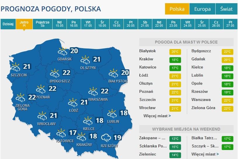 Pogoda w piątek /INTERIA.PL