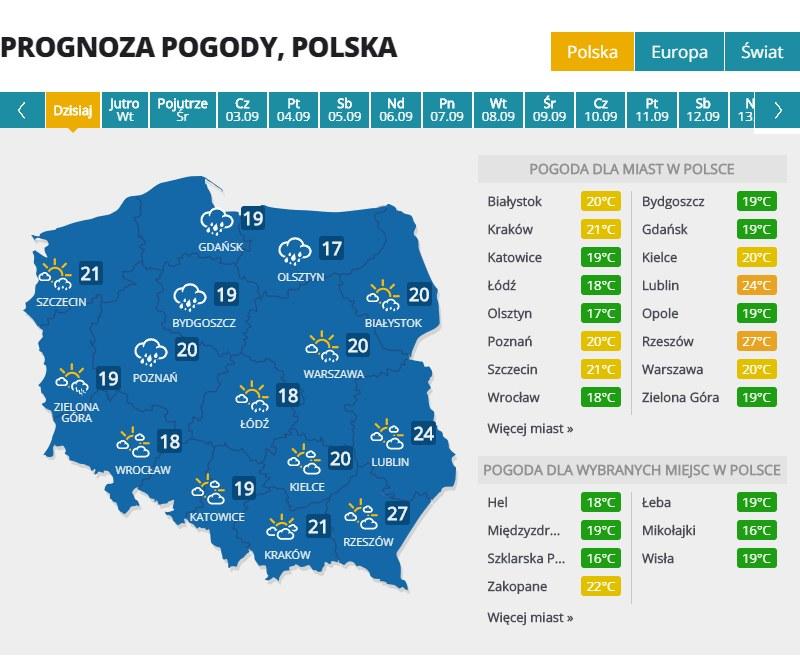 Pogoda w poniedziałek /INTERIA.PL