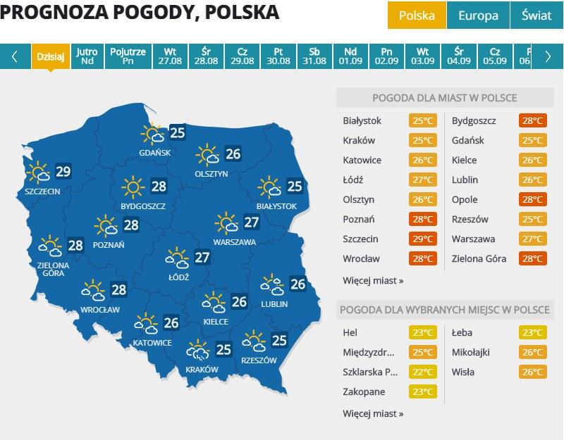 Pogoda w sobotę, 24 sierpnia /Interia.pl /INTERIA.PL