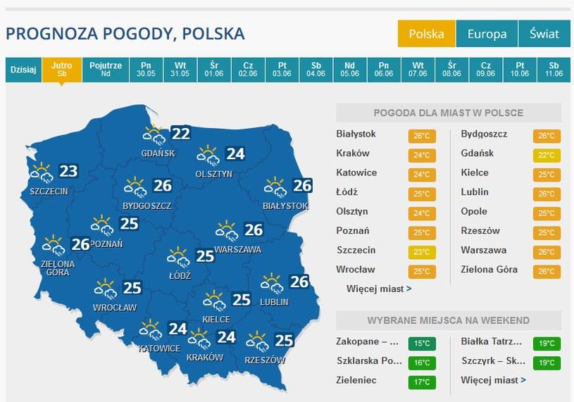 Pogoda w sobotę /INTERIA.PL