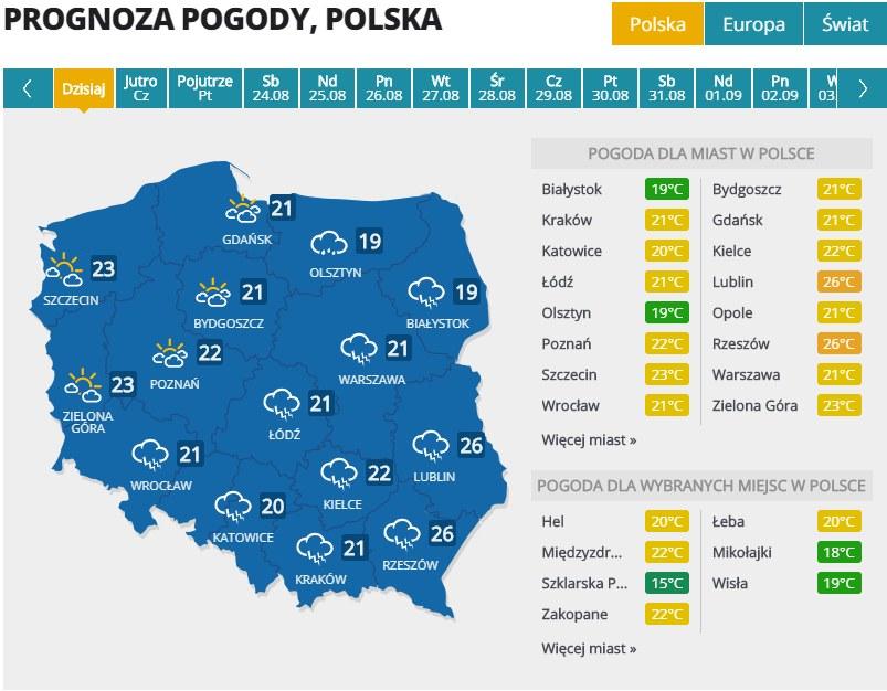 Pogoda w środę, 21 sierpnia /Interia.pl /INTERIA.PL