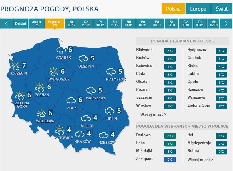 Pogoda we wtorek /INTERIA.PL