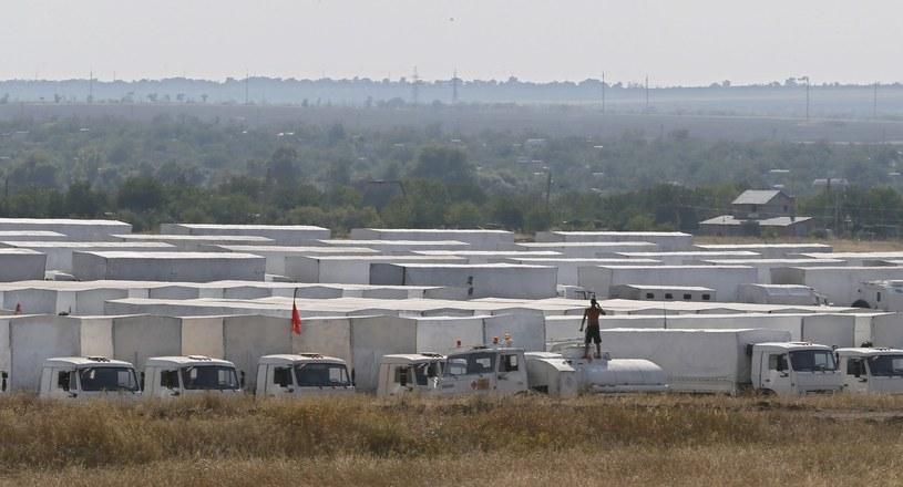 Pogranicznicy kontrolują rosyjski konwój /PAP/EPA
