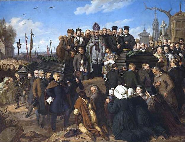 Pogrzeb pięciu poległych - obraz Aleksandra Lessera /Wikimedia