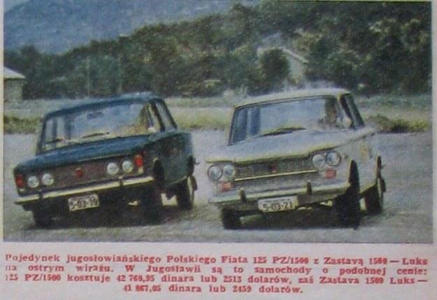 Pojedynek jugosłowiańskiego Polskiego Fiata 125 PZ/1500 z Zastavą 1500 - Luks na ostrym wirażu. W Jugosławii są to samochody o podobnej cenie: 125 PZ/1500 kosztuje 42 760,35 dinara lub 2513 dolarów, zaś Zastava 1500 Luks - 41 867,05 dinara lub 2459 dolarów. /Motor