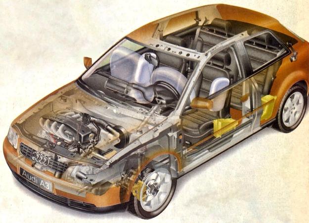 Pokrewieństwo z płytą podłogową Golfa narzuciło poprzeczne osadzenie zespołu napędowego oraz rezygnację z podwójnych poprzecznych wahaczy (patrz Audi A4) i zastąpienie ich kolumnami McPherson. /Audi
