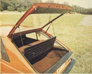 Pokrywa tylna obejmująca okno unosi się wysoko ku górze pod działaniem sprężyn gazowych, które podtrzymują ją w pozycji otwartej. Wraz z pokrywą unosi się tylna część połączonej zawiasowo półki. Przy przewożeniu większego bagażu półkę można wyjąć całkowicie. /Motor