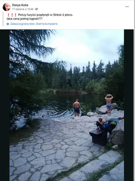 Polacy wykąpali się w tatrzańskim jeziorze mimo zakazu /Facebook / Turista /Facebook