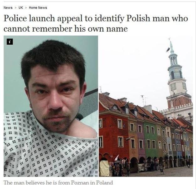 Polak stracił pamięć/ foto. independent.co.uk /