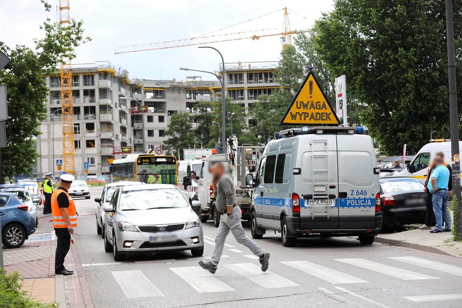 Policja na miejscu wypadku /Rafał Guz /PAP