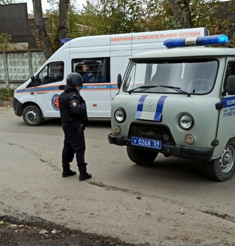 Policja pilnująca okolic uniwersytetu w Permie /Anatoliy Romanov/SPUTNIK Russia /East News