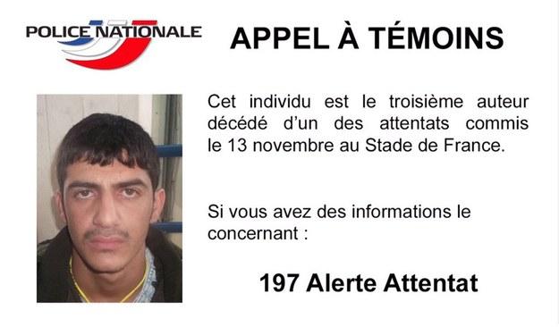 Policja prosi o informacje pomocne w zidentyfikowaniu zamachowca /FRENCH MINISTRY OF THE INTERIOR /PAP/EPA