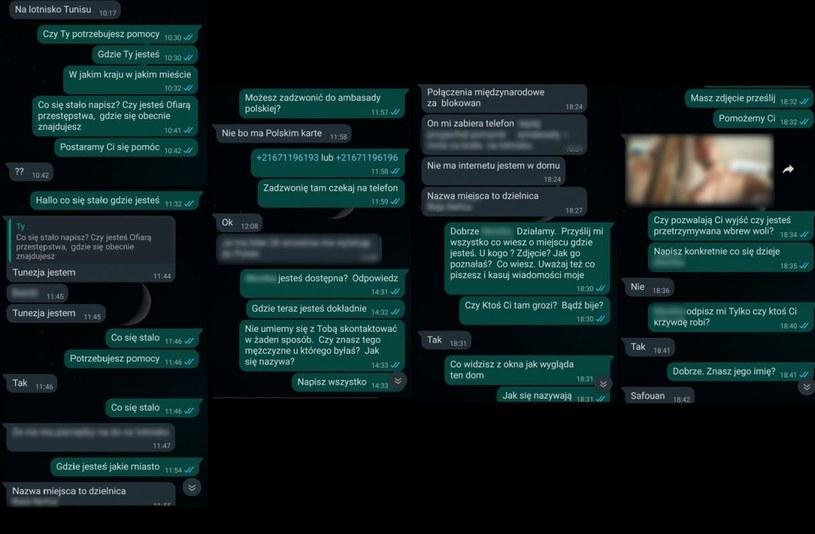 Policja udostępniła wiadomości wymieniane z kobietą /Policja