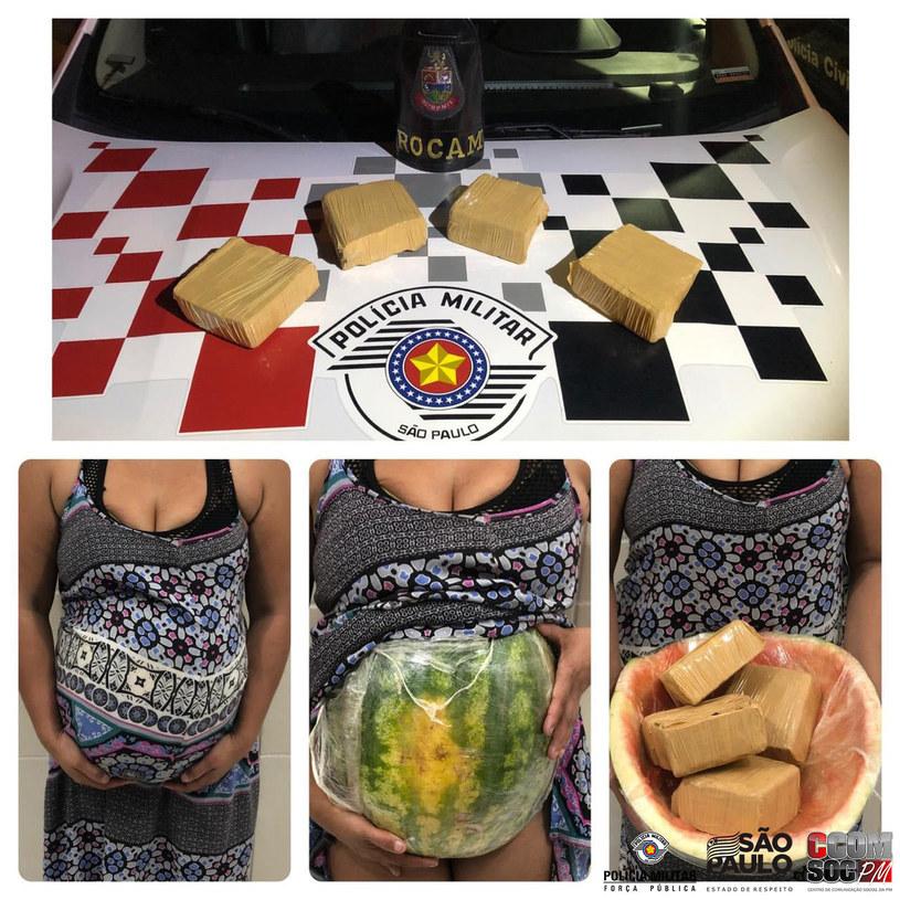 Policja udostępniła zdjęcia narkotyków ukrytych w arbuzie /Facebook /