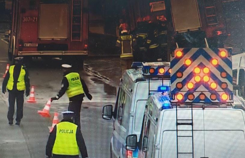 Policjanci na miejscu wypadku w Warszawie /Polsat News