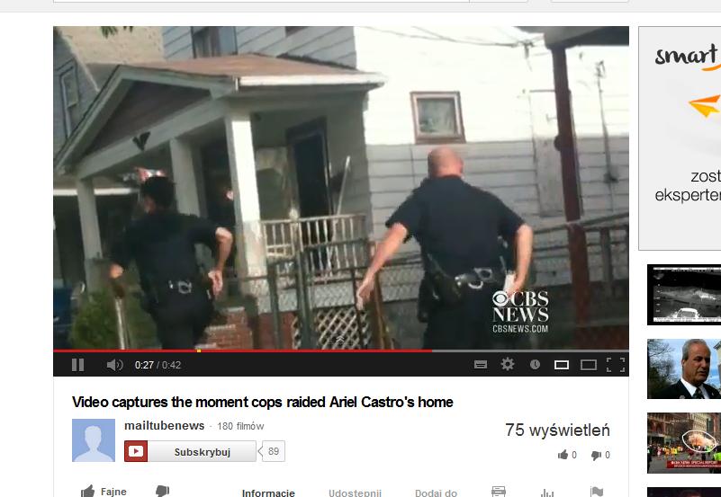 Policjanci przeprowadzają szturm na dom Ariela Castro /YouTube