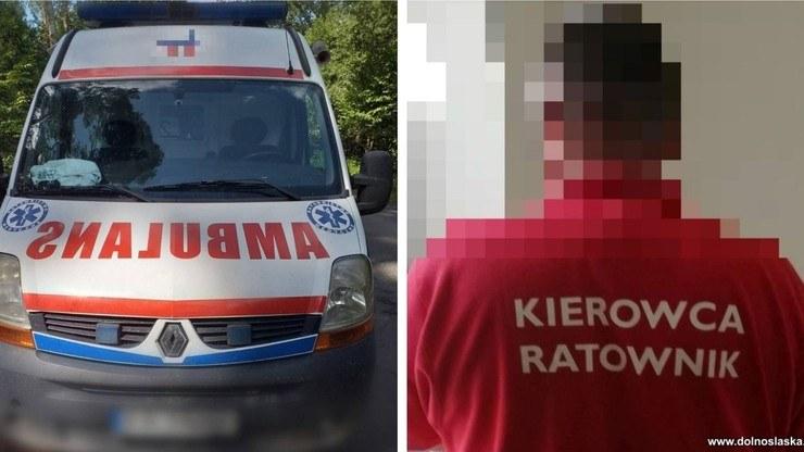 Policjanci zatrzymali nietrzeźwego mężczyznę, który jeździł po mieście karetką na sygnale /Dolnośląska Policja /