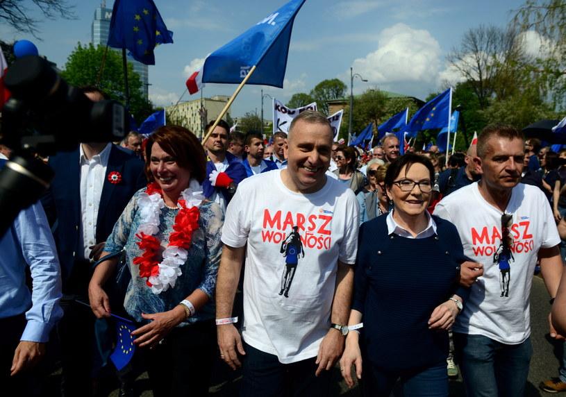 Politycy na czele Marszu Wolności, od lewej: Małgorzata Kidawa-Błońska, Grzegorz Schetyna, Ewa Kopacz i Bartosz Arłukowicz /Jakub Kamiński   /PAP