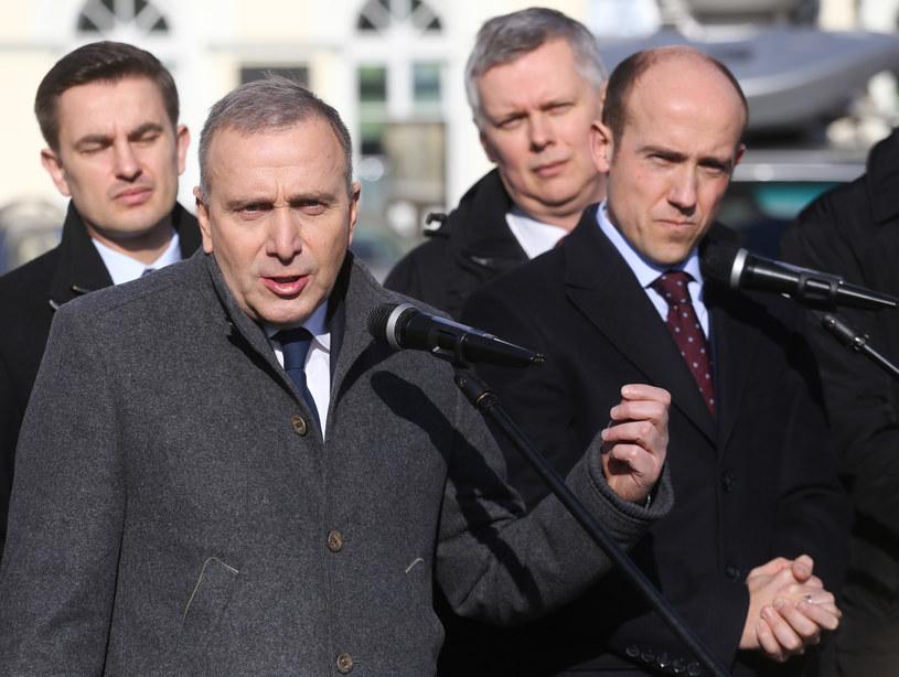 Politycy PO podczas konferencji w Oświęcimiu /Jakub Porzycki /Agencja FORUM