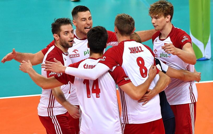 Polscy siatkarze podczas meczu z Belgią w Szczecinie / Marcin Bielecki    /PAP