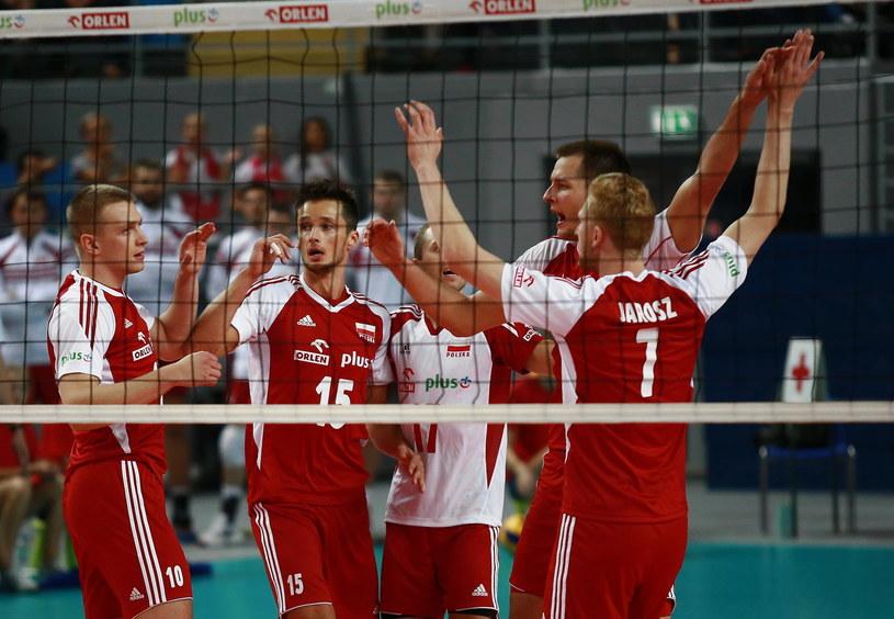 Polscy siatkarze podczas meczu z Niemcami /Marcin Bednarski /PAP