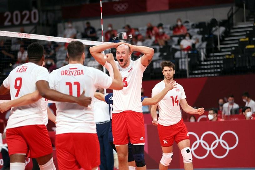 Polscy siatkarze podczas meczu z reprezentacją Iranu / Leszek Szymański    /PAP