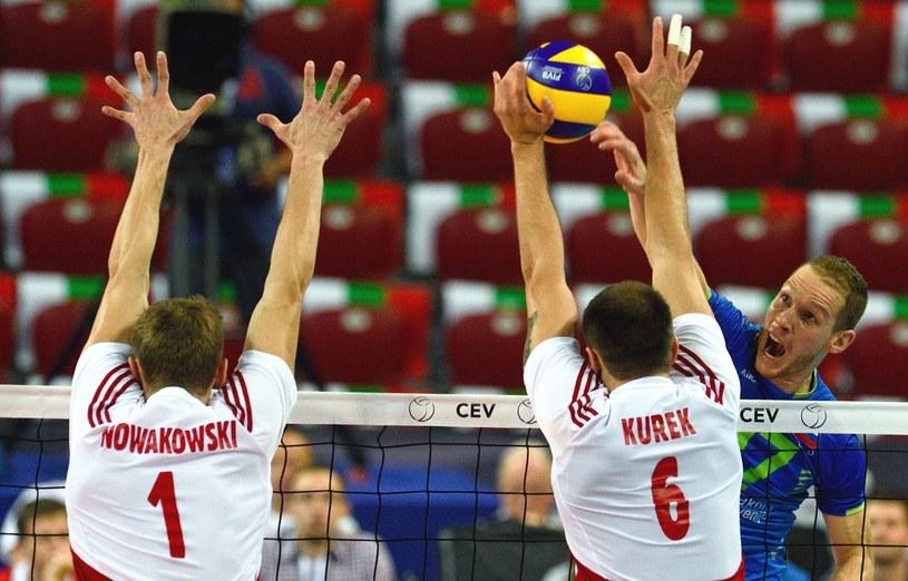 Polscy siatkarze podczas meczu ze Słowenią /PAP/EPA