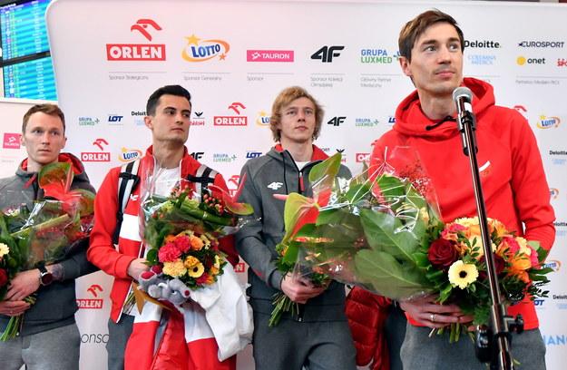 Polscy skoczkowie (od lewej): Stefan Hula, Maciej Kot, Dawid Kubacki i Kamil Stoch /Bartłomiej  Zborowski /PAP