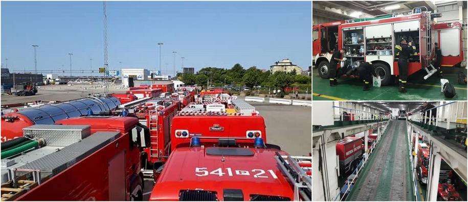 Polscy strażacy zabrali do Szwecji 44 wozy ratowniczo-gaśnicze /Państwowa Straż Pożarna /