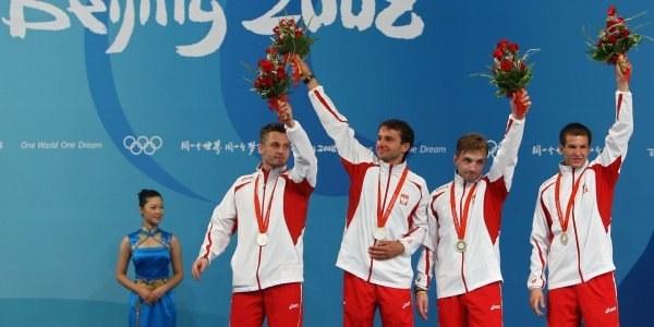 Polscy szpadziści na podium igrzysk olimpijskich /AFP