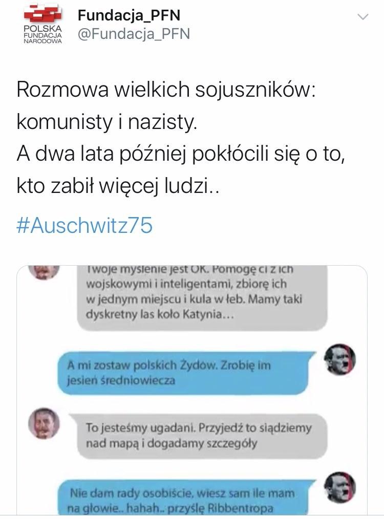"""Polska Fundacja Narodowa tak """"uczciła"""" 75. rocznicę wyzwolenia niemieckiego obozu Auschwitz /Twitter"""