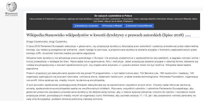 Polska Wikipedia wyłączona na 24 godziny /wikipedia.pl /