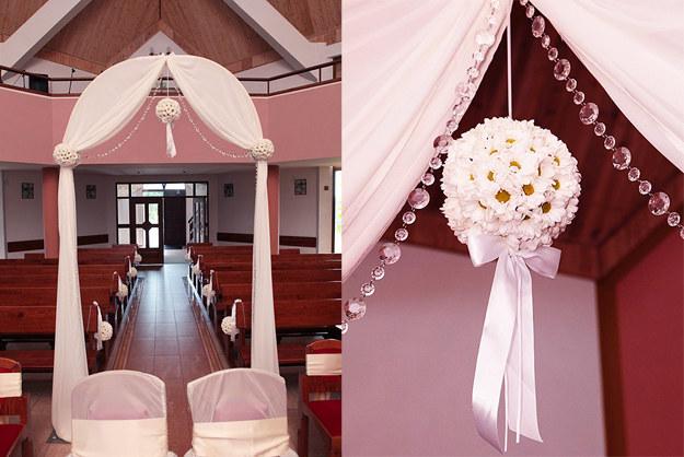 Pomander jako część dekoracji w kościele /Edan Art /abcslubu.pl