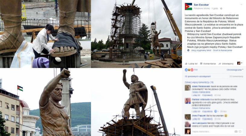 Pomnik ku czci Witolda Waszczykowskiego zbudowany w stolicy San Escobar /San Escobar Facebook /materiały prasowe