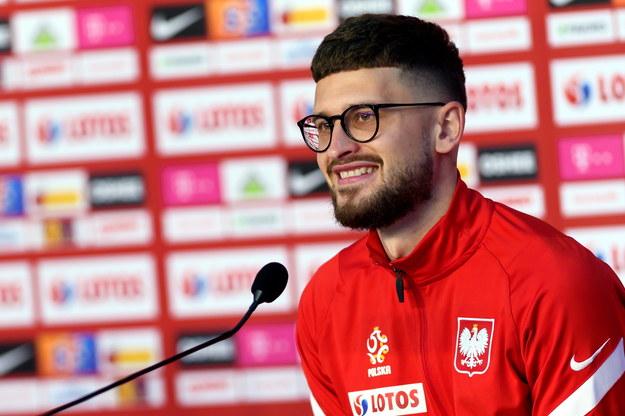 Pomocnik piłkarskiej reprezentacji Polski Mateusz Klich na konferencji prasowej podczas zgrupowania kadry w Opalenicy /Jakub Kaczmarczyk /PAP