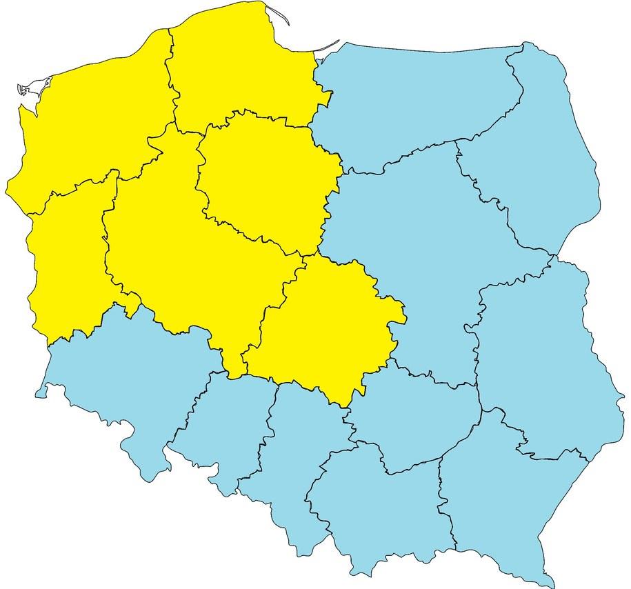 Poniedziałek 8 maja. Żółty na mapie oznacza pierwszy stopień zagrożenia pogodowego – przymrozki /Na podstawie IMiGW  /RMF FM